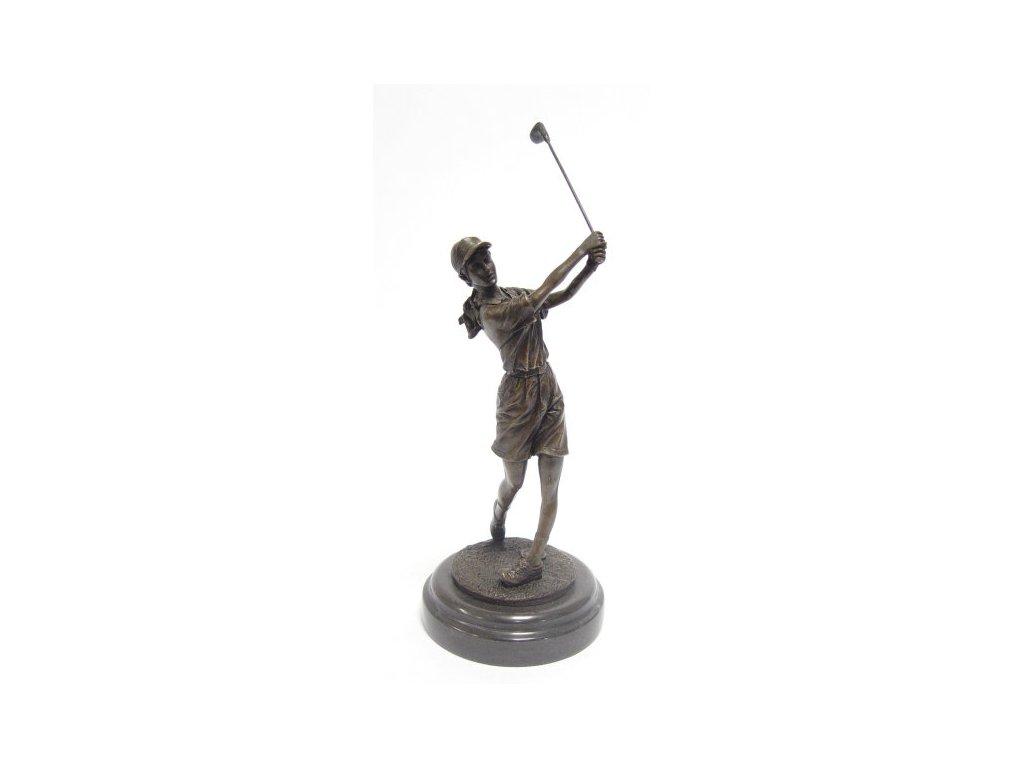 Bronzová soška golfistka