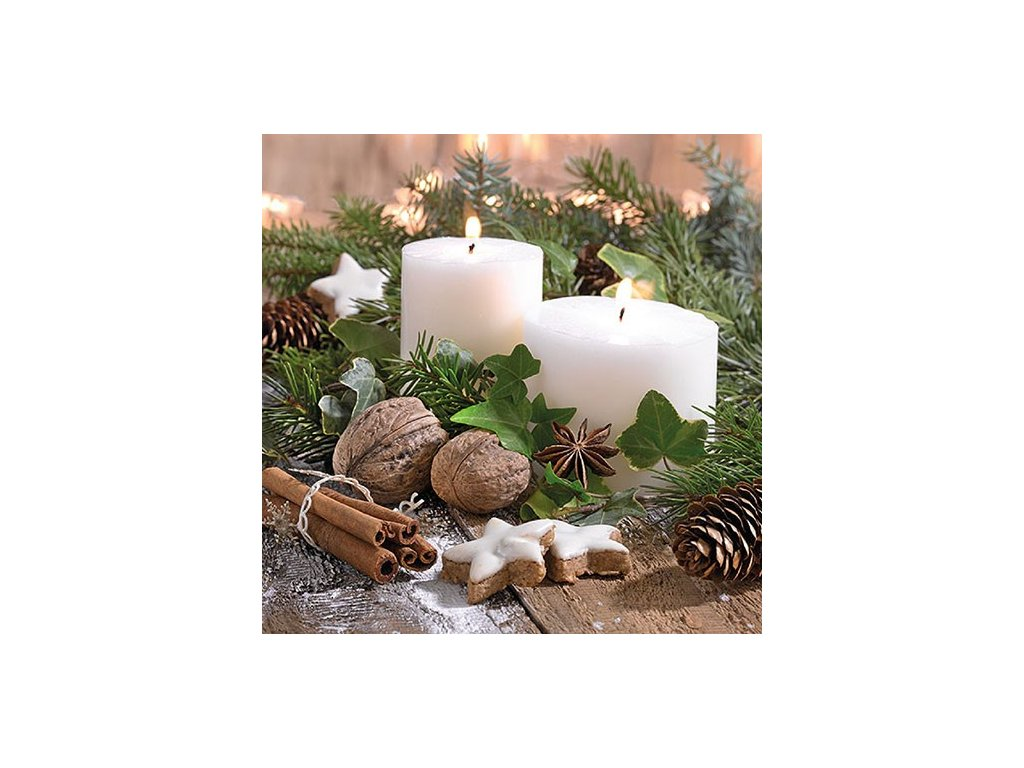 Napkin 33 White Candles