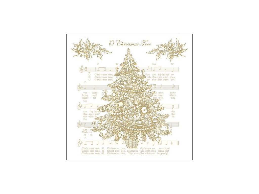 Napkin 33 O Christmas Tree Gold