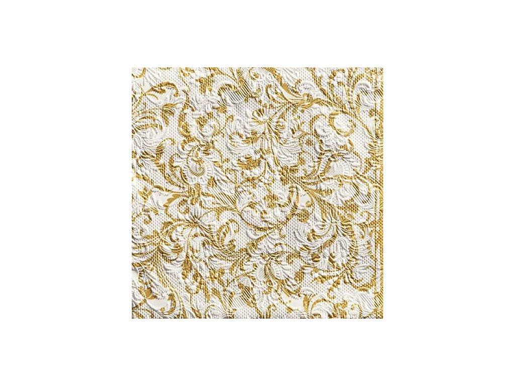 Napkin 33 Elegance Damask White/Gold