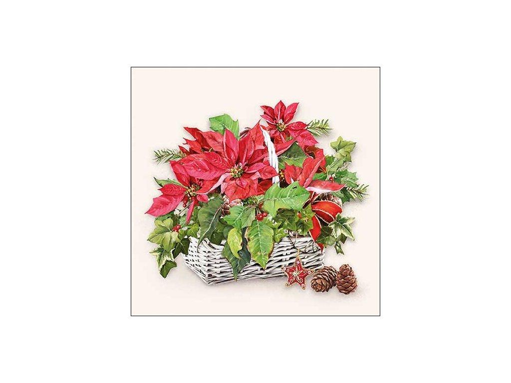 Napkin 33 Poinsettia In Basket