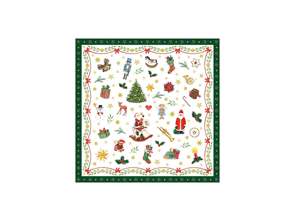 Napkin 33 Ornaments All Over Green