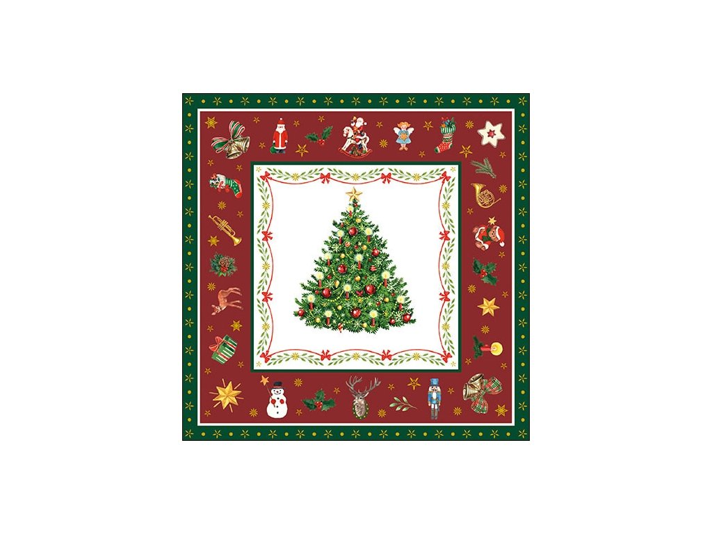 Napkin 33 Christmas Evergreen Red
