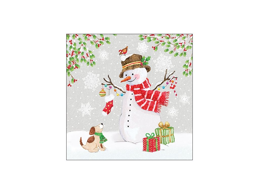 Napkin 33 Snowman Meet Friends
