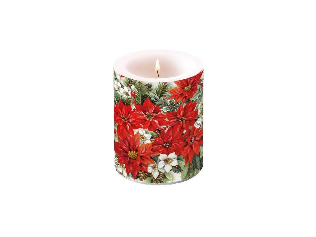 Candle Big Poinsettia All Over