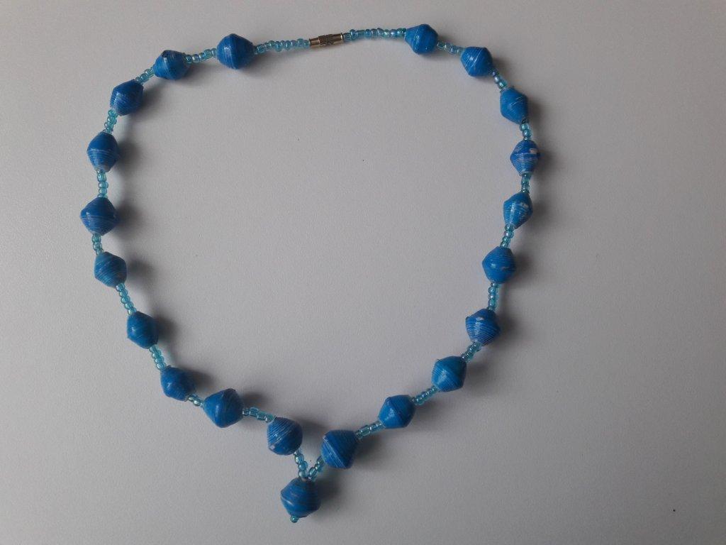 Papírové korále modré