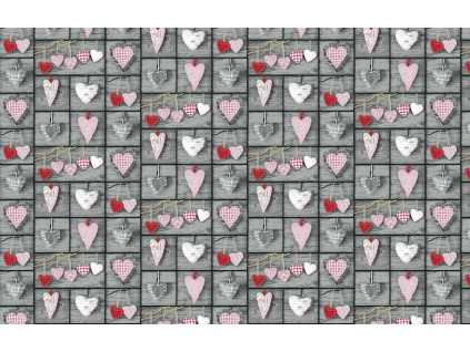 BAVLNĚNÁ LÁTKA HEART ČERVENÁ š.160