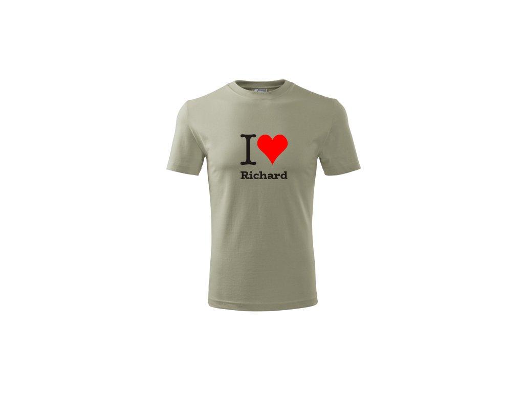 tricko i love richard panske svetla khaki 3