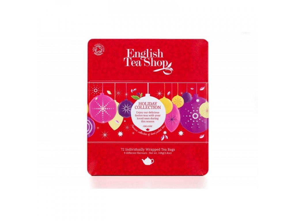 Vánoční čaj ETS - Dárková kolekce v plechové kazetě - Červené ozdoby, 72 sáčků