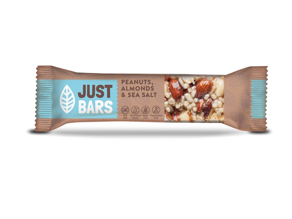 JUST BARS PEANUTS ALMONDS SEA SALT
