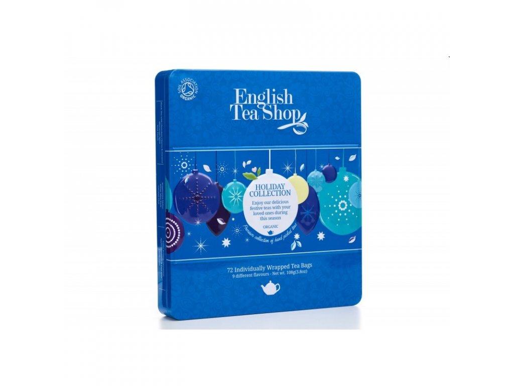 Vánoční čaj ETS - Dárková kolekce v plechové kazetě - Modré ozdoby, 72 sáčků