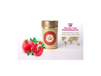 Metropolitan sypaný čaj bílý Pai Mu Tan s granátovým jablkem, 35 g, Sleva 30%, EXP 10/20