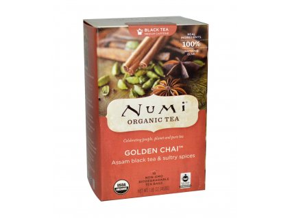 Numi Organic Tea Golden Chai cerny zlaty Chai bio 18 sacku sku952