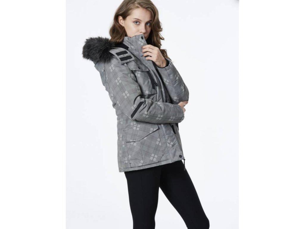 Dámská károvaná zimná bunda DISCOVERY (Farba Sivá, Veľkosť XL)