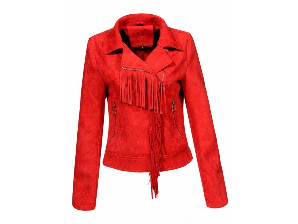 cervena damska semisova bunda