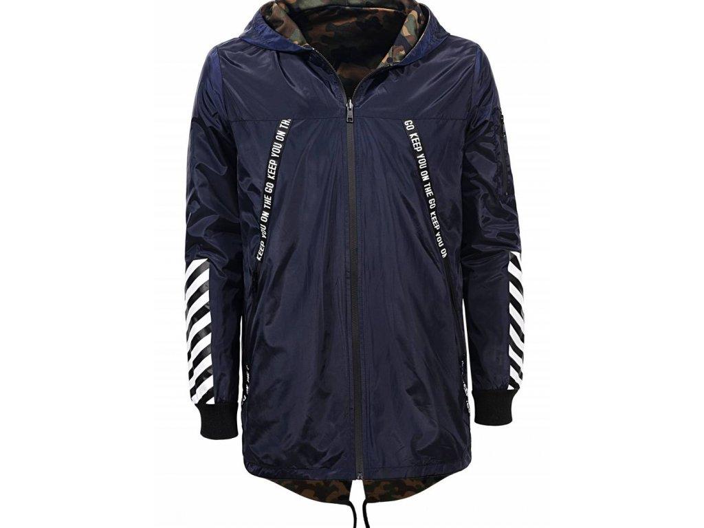 Pánska prechodná obojstranná bunda (Farba Modrá, Veľkosť S)