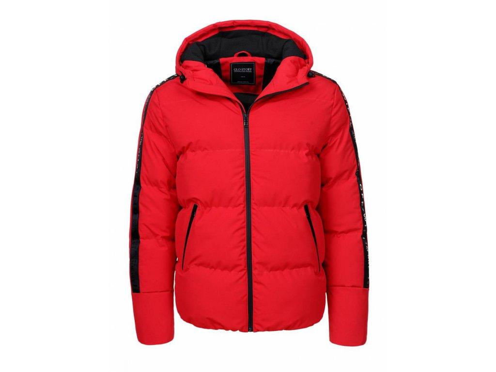 Pánská červená športová bunda PLUS SIZE (Farba Červená, Veľkosť XL)
