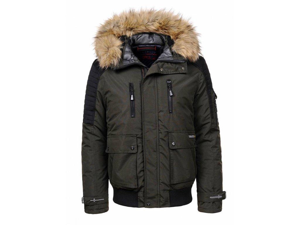 Pánska zimná bunda s kapucňou a kožušinou (Farba Tmavozelená, Veľkosť XL)