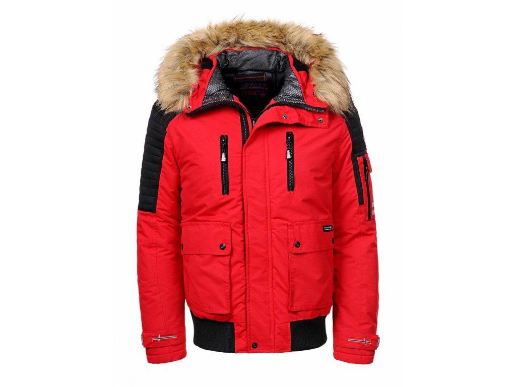 Pánska červená bunda s kapucňou a kožušinou (Farba Červená, Veľkosť XL)