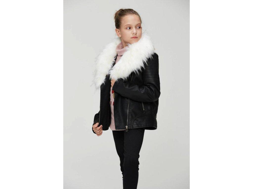 Dievčenská čierna bunda s kožúškom (Farba Čierna, Veľkosť 152/158)