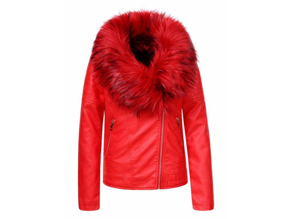 Dievčenská červená bunda s kožúškom (Farba Ružová, Veľkosť 152/158)