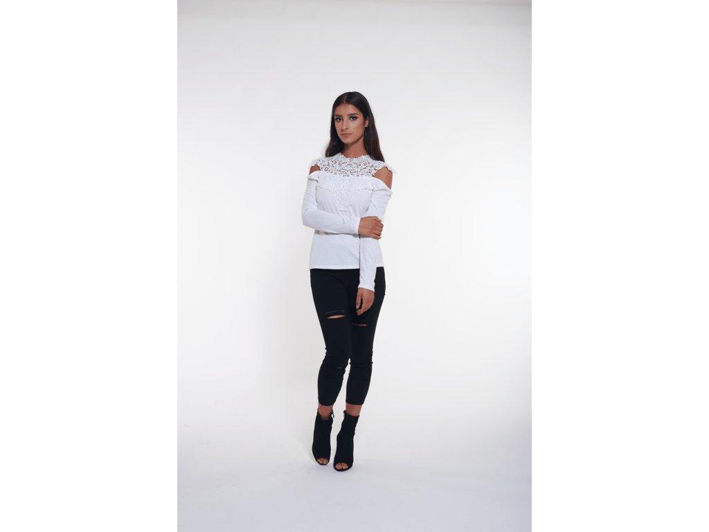 Dámske tričko s krajkou (Farba Sivá, Veľkosť XL)