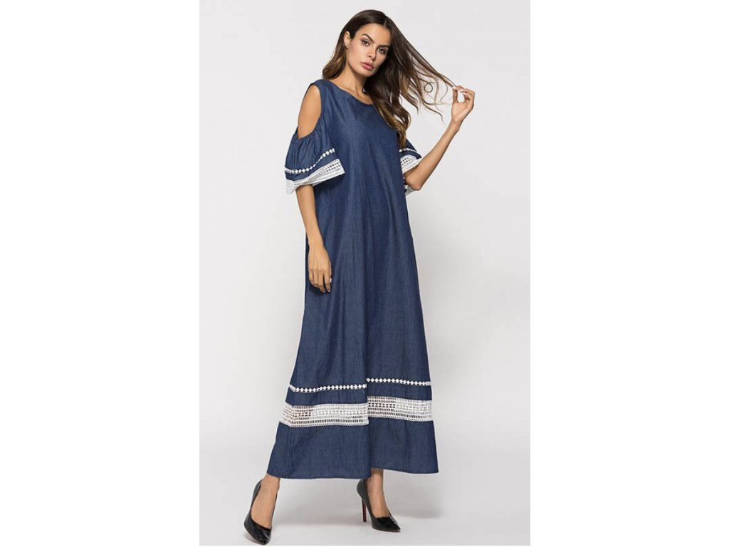 Dámske modrobiele šaty s ozdôbkami (Farba Modrá, Veľkosť S)