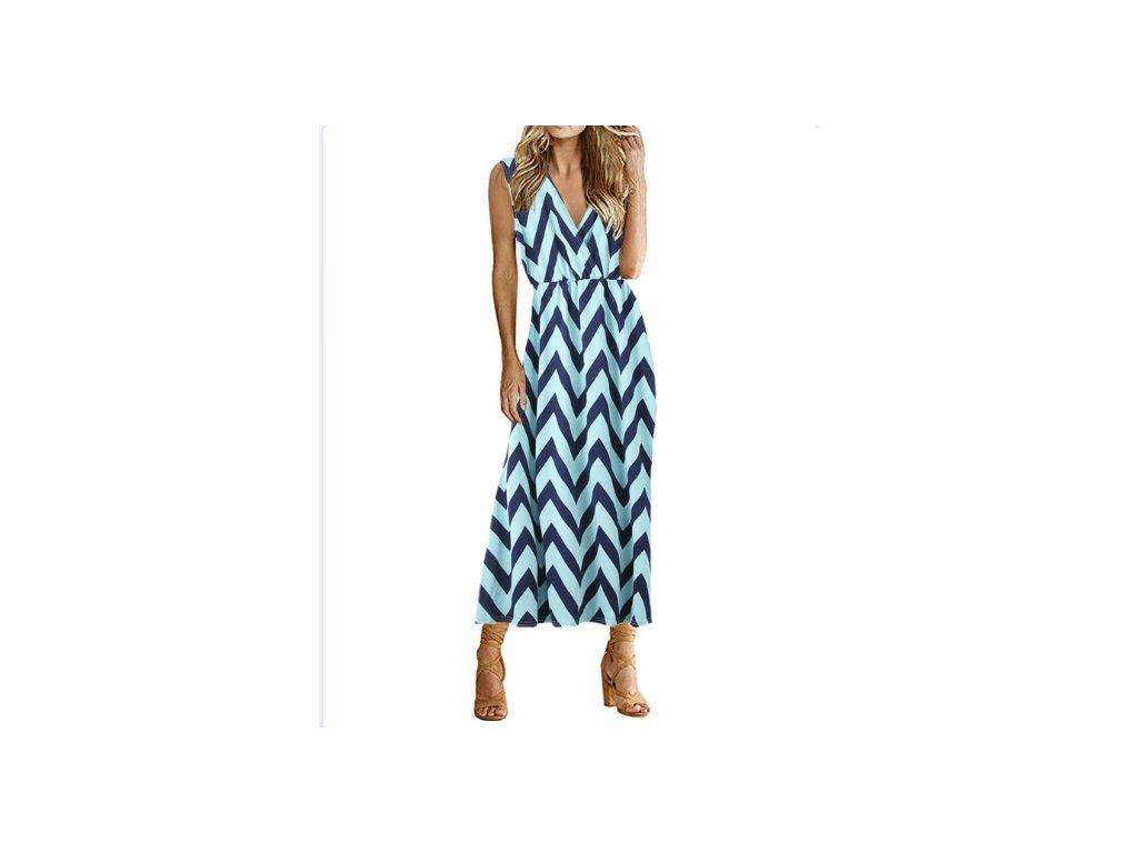 Dámske prúžkované šaty (Farba Modrá, Veľkosť S)