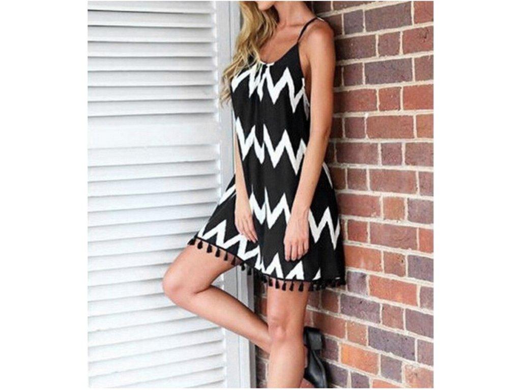 Dámske šaty s čiernobielými prúžkami (Farba Čierna, Veľkosť XL)