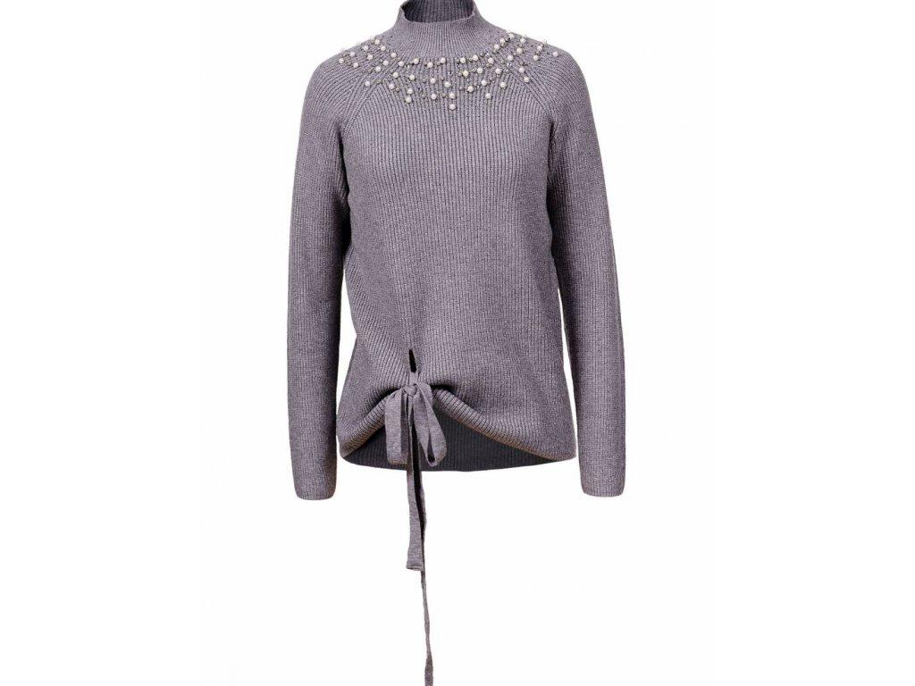 Dámsky pletený sveter  LUXURY (Farba Sivá, Veľkosť XL)