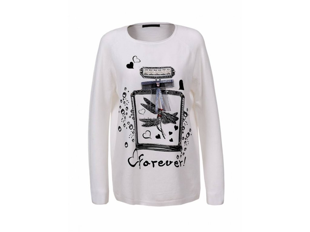 Dámsky pletený biely sveter s námetom (Farba Biela, Veľkosť S)