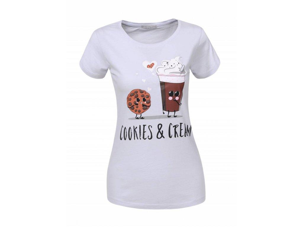 Dámske tričko COOKIES (Farba Biela, Veľkosť S)