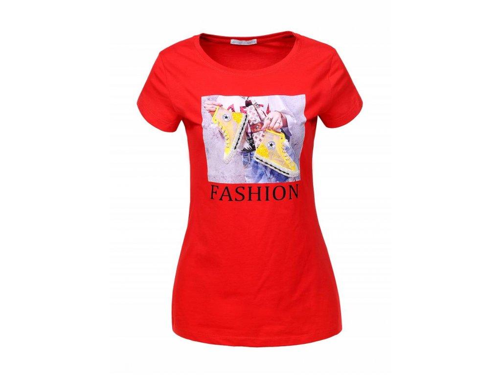 Dámske tričko s krátkym rukávom FASHION (Farba Červená, Veľkosť XL)