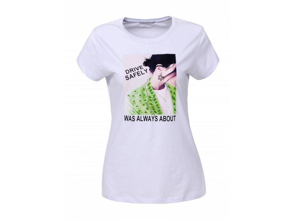Dámske tričko DRIVE SAFELY (Farba Biela, Veľkosť S)