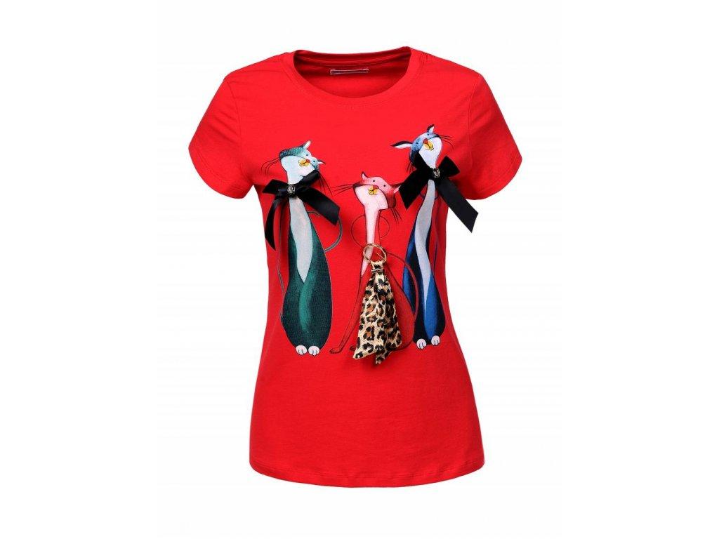 Dámske tričko s krátkym rukávom SCHODKA (Farba Červená, Veľkosť XL)