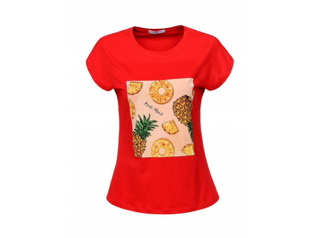 Dámske tričko PINEAPLE (Farba Červená, Veľkosť XL)