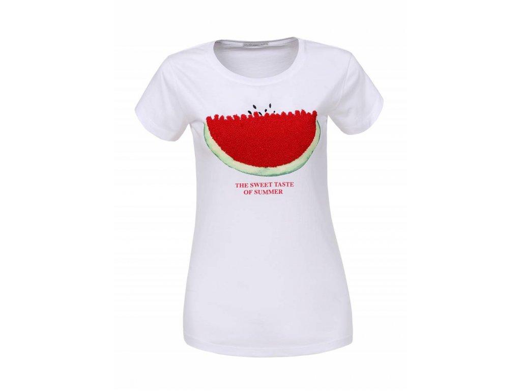 Dámske tričko s krátkym rukávom SWEET (Farba Biela, Veľkosť S)