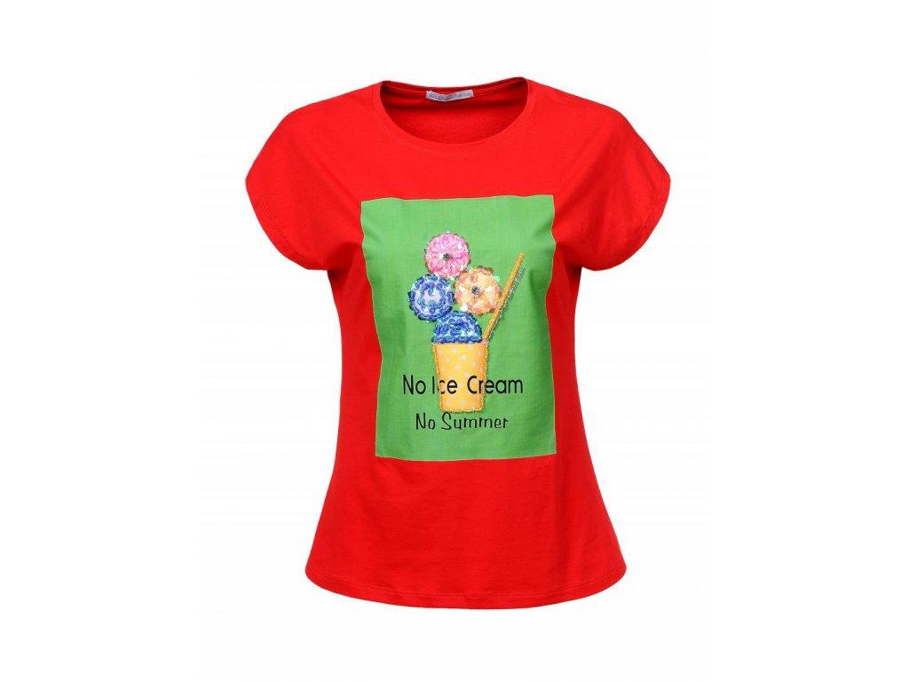 Dámske tričko NO ICE CREAM (Farba Červená, Veľkosť XL)