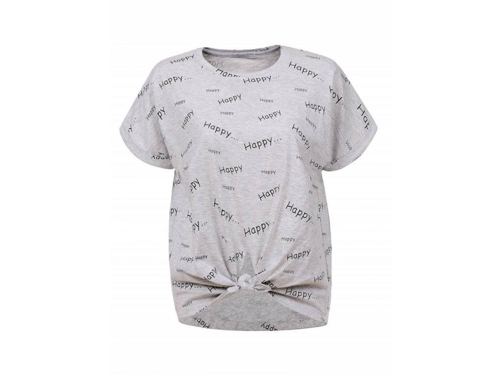 Dámske tričko s krátkym rukávom HAPPY HAPPY (Farba Sivá, Veľkosť XL)