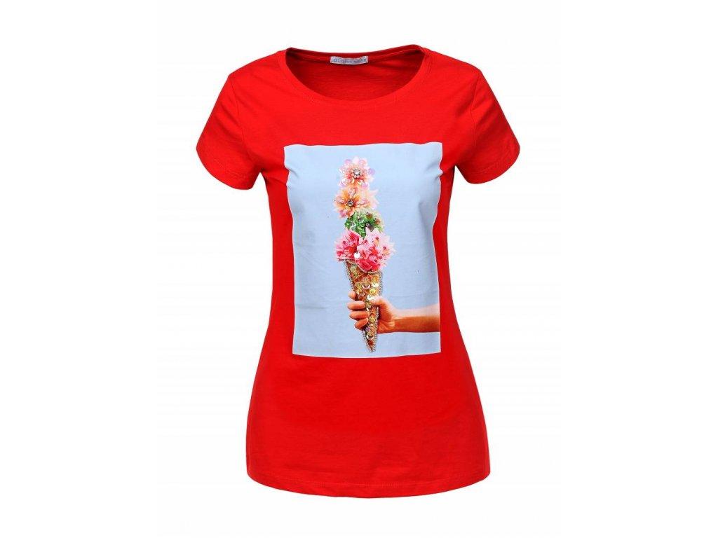 Dámske tričko ICE CREM (Farba Červená, Veľkosť XL)
