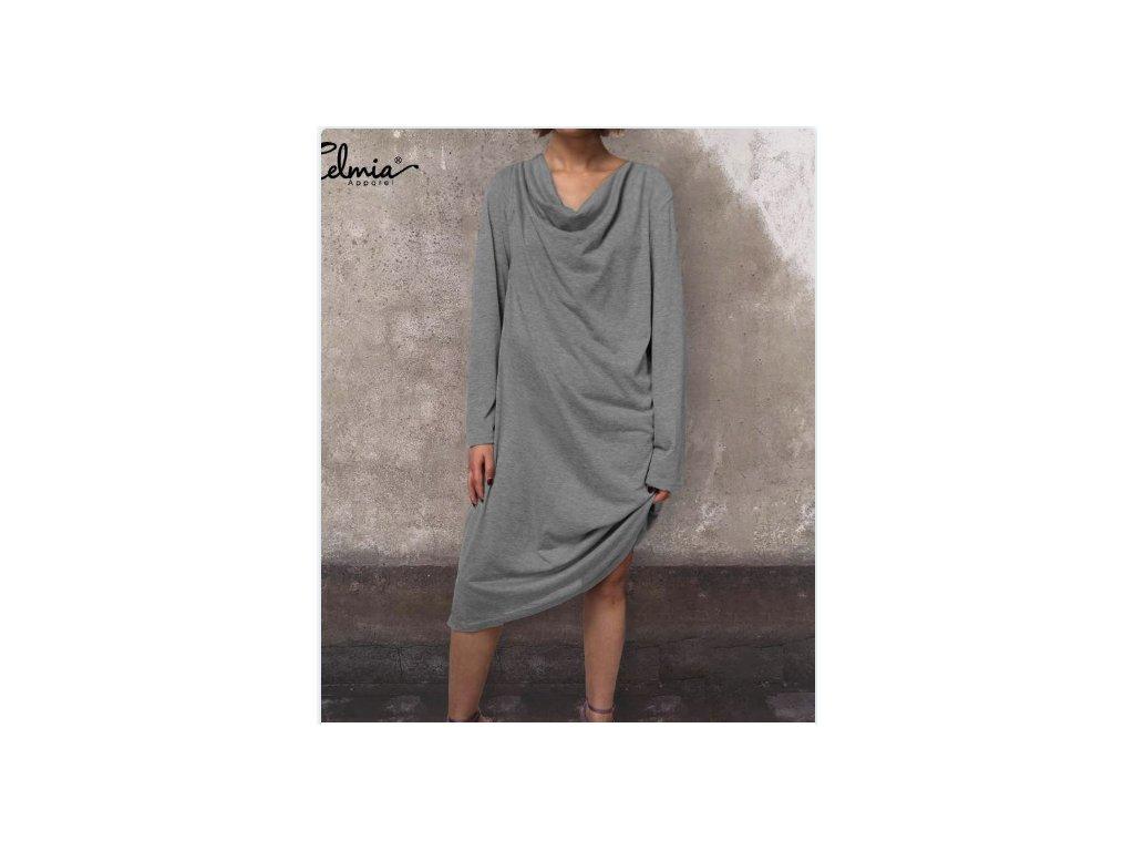 Dámske pletené šaty SYMPHONY (Farba Sivá, Veľkosť XL)