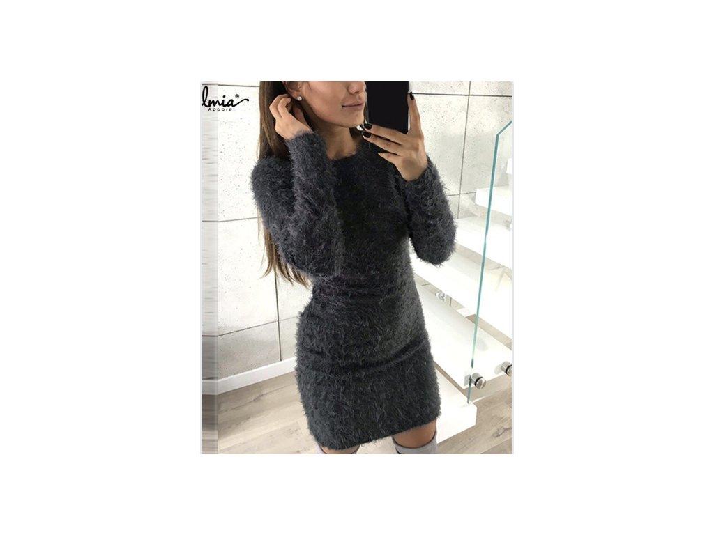 Dámské pletené šaty DREAMS (Farba Sivá, Veľkosť XL)