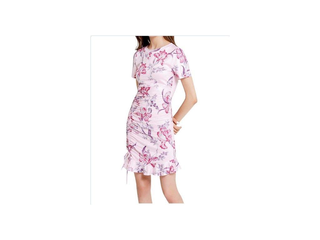 Dámske elegantné šaty (Farba Ružová, Veľkosť XL)