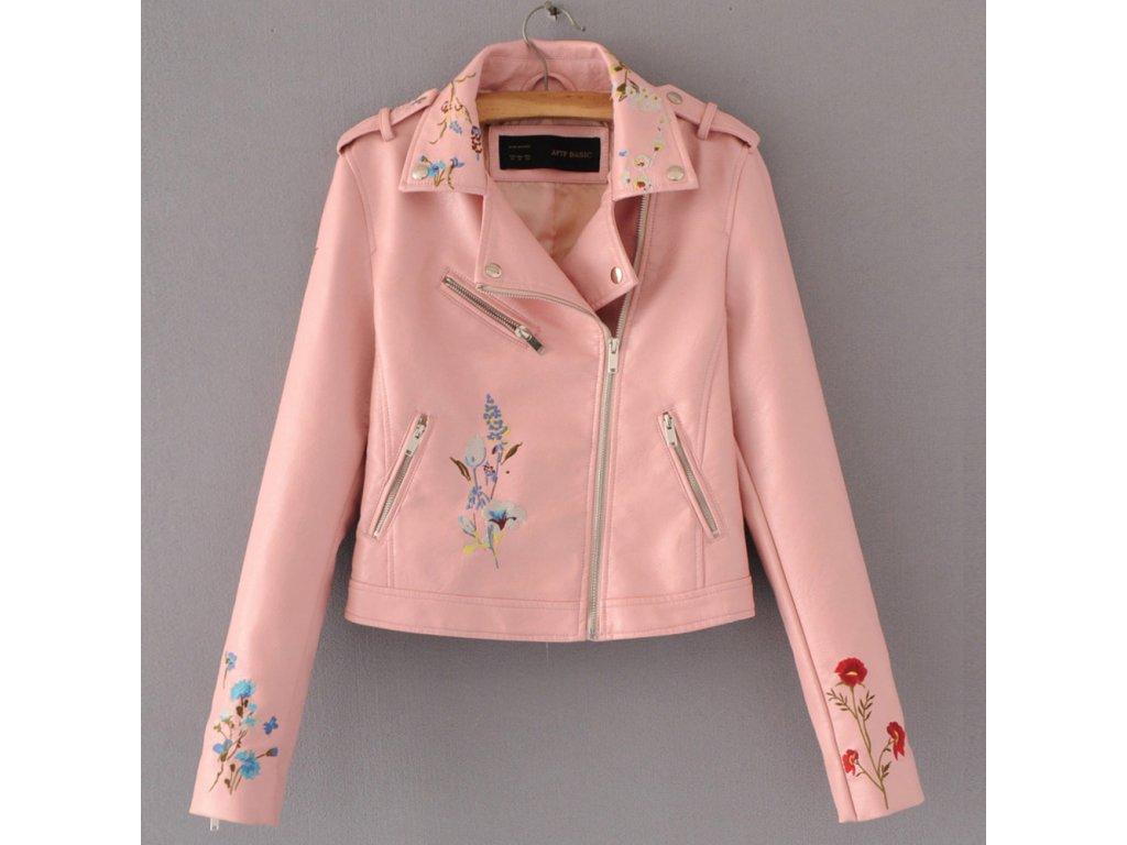 Dámska bunda s kvetinovým vzorom - Lososová (Farba Ružová, Veľkosť XS)