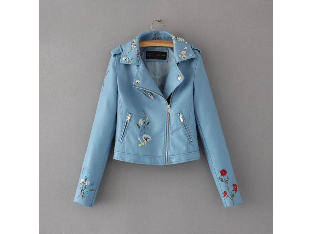 Dámska bunda s kvetinovým vzorom (Farba Modrá, Veľkosť XS)