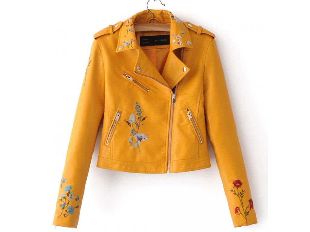 Dámska bunda s  kvetinovým vzorom (Farba Žlta, Veľkosť XS)