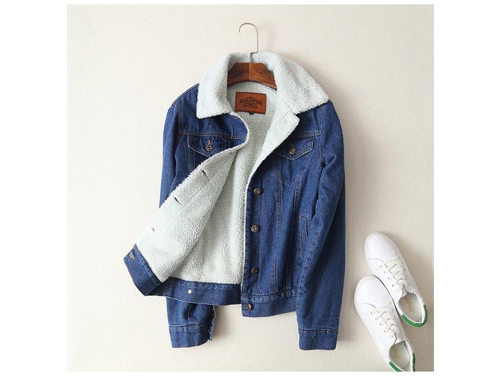 Dámska džínsová bunda Frida Veľkosť: M (Farba Modrá, Veľkosť S)