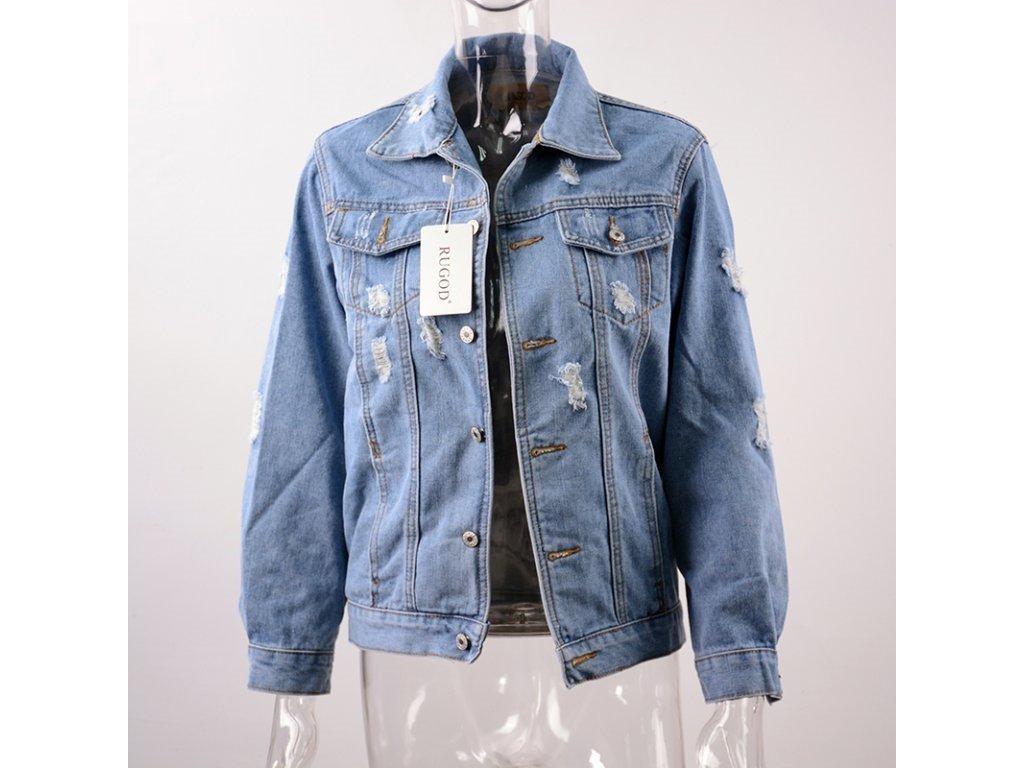 Dámska džínsová bunda - až 4XL (Farba Modrá, Veľkosť 4XL)