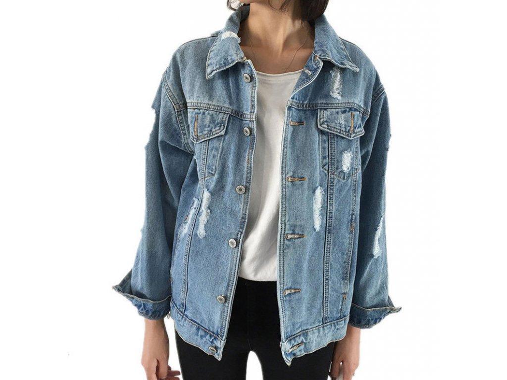 Dámska džínsová bunda so zapínaním na gombíky (Farba Svetlomodrá, Veľkosť XS)