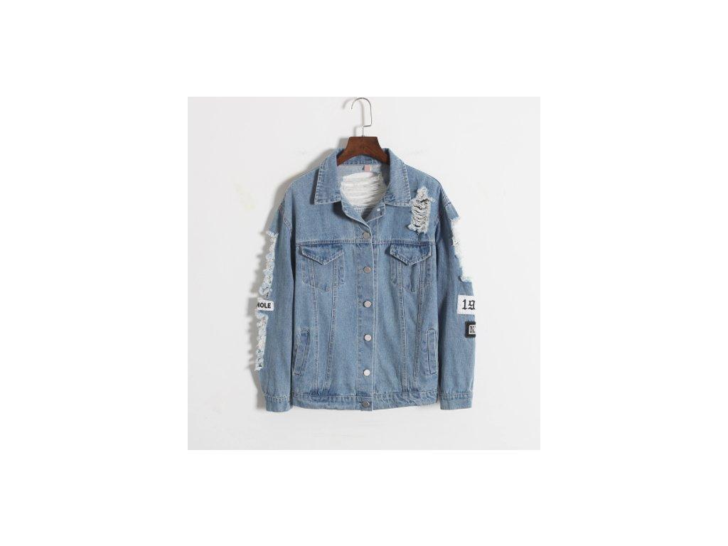 Dámska džínsová bunda v zaujímavom prevedení (Farba Modrá, Veľkosť S)